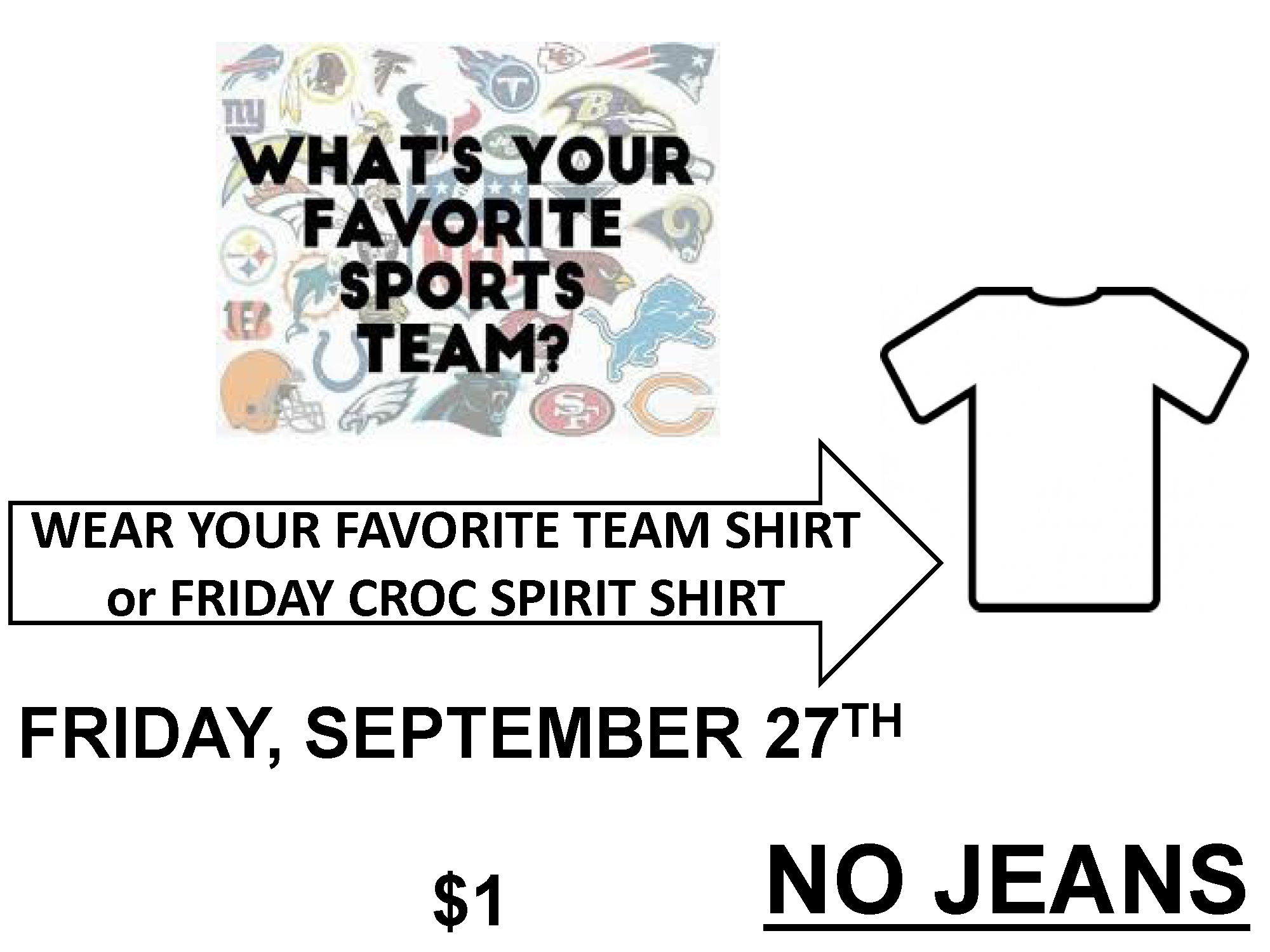Favorite Sports Team Shirt Day $1
